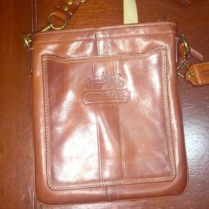 Authentic COACH cross body camel leather purse